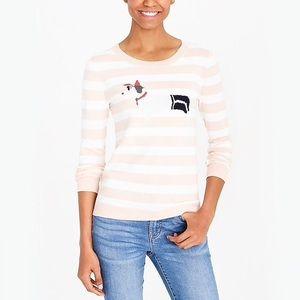 JCrew Dachsund Teddie Striped Sweater Medium